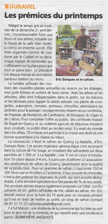 Article La vie Quercynoise - mai 2019