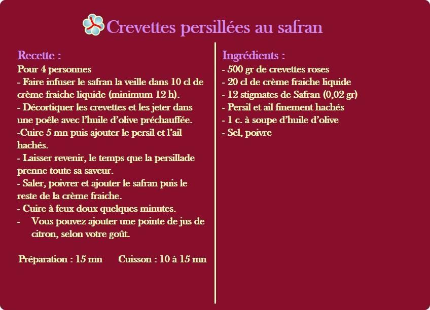 recette des crevettes presillées au safran