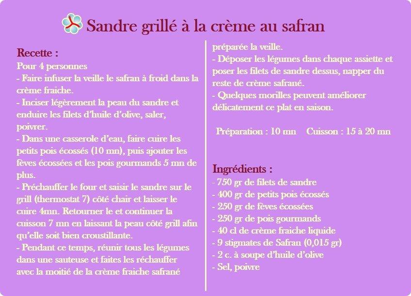 recette du sandre grillé à la crème de safran